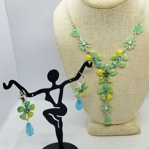 Jewelry - Statement Necklace , enameled flowers and Earring